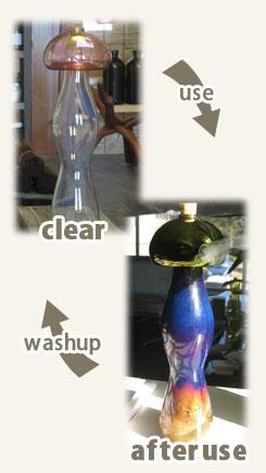 使用前と、使用後。徐々に風格の出てくるさまもSendUPガラス製お香立ての楽しみの一つです。